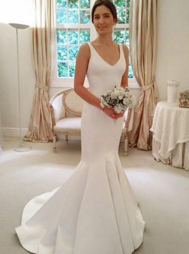 Mermaid Scoop Sweep Train Sleeveless Satin Wedding Dress