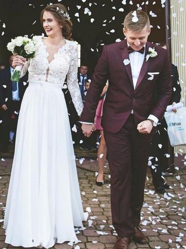 A-Line V-Neck Sweep Train Chiffon Wedding Dress with Lace Sleeves
