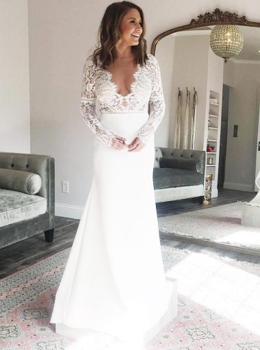 Sheath V-Neck Long Sleeves Chiffon Wedding Dress with Lace Top