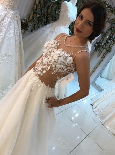 A-Line Ronnd Neck Sweep Train Wedding Dress with Appliques