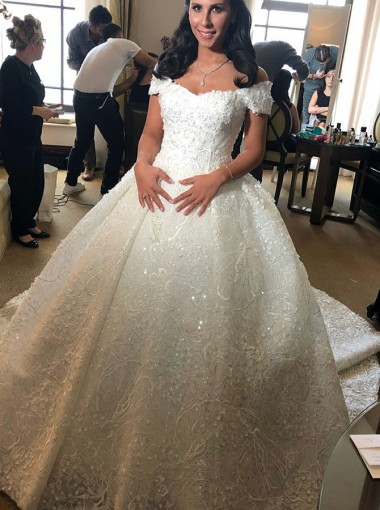 Ball Gown Off-the-Shoulder Court Train Lace Wedding Dress with ...