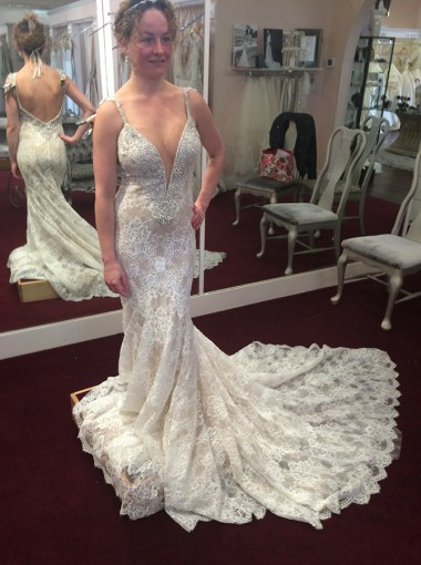 Mermaid Spaghetti Straps Backless Light Champagne Lace Wedding Dress