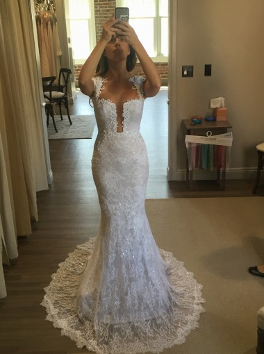 Mermaid Square Neck Sweep Train Lace Wedding Dress with Appliques