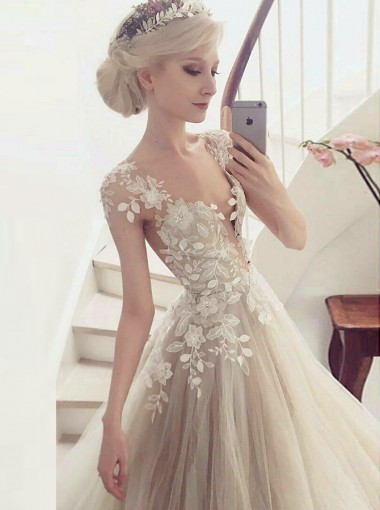 A-Line Round Cap Sleeves Light Champagne Wedding Dress with Appliques