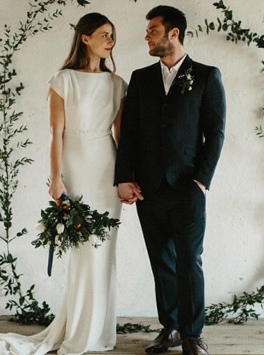 Sheath Bateau Sweep Train Open Back Long Chiffon Wedding Dress with Appliques