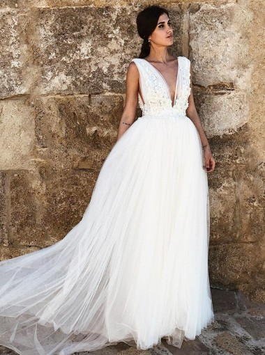 A-Line Deep V-Neck Sweep Train Tulle Wedding Dress with Appliques