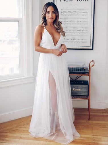 A-Line Deep V-Neck Crisscross Back Sweep Train Wedding Dress