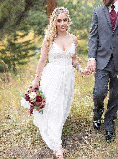 A-Line Spaghetti Straps Floor Length Sleeveless Chiffon Wedding Dress with Lace
