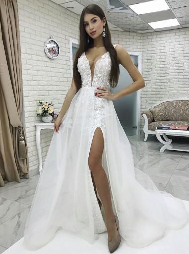 Sheath V-Neck Low Cut Detachable Train White Lace Wedding Dress with Split