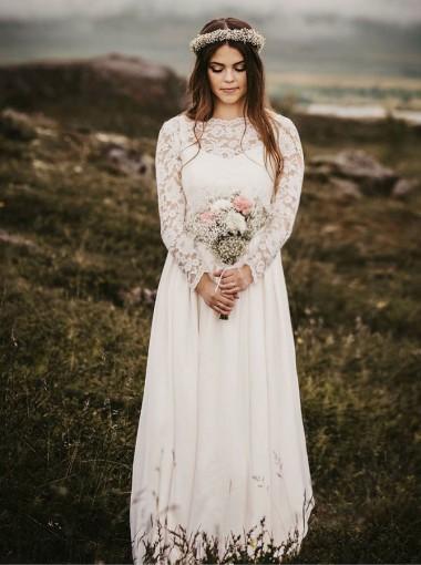 A-Line Bateau Floor Length Chiffon Wedding Dress with Long Sleeves