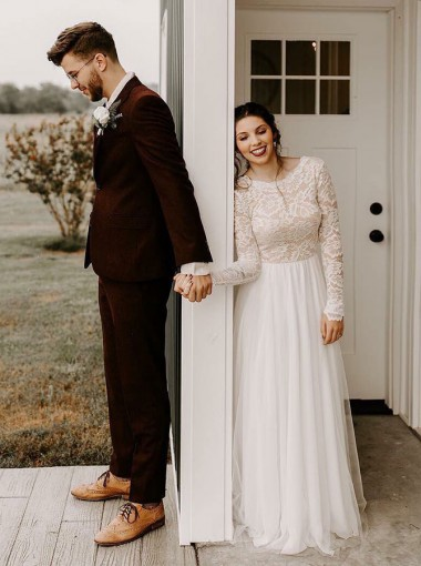 A-Line Round Neck Backless Lace Top Wedding Dress with Long Sleeves