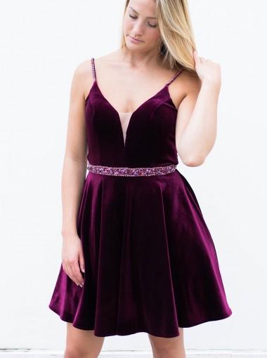 A-line Straps Short Velvet Homecoming Dress with Beadings