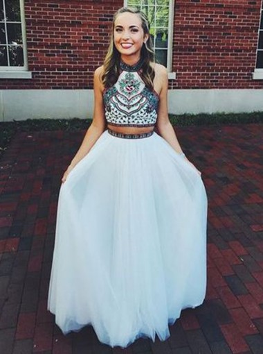 Two Piece Halter Floor Length Prom Dress With Embroidery