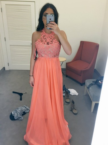 New Arrival Jewel Sleeveless Floor-Length Peach Prom Dress with Beading Lace