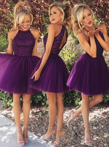A-Line Jewel Sleeveless Open Back Short Purple Prom Dress with Beading Ruched