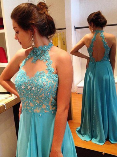 A-Line Halter Floor-Length Open Back Blue Chiffon Prom Dress with Beading
