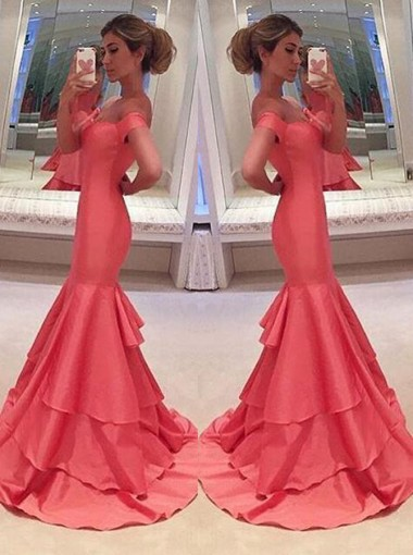Mermaid Off-the-Shoulder Sweep Train Short Sleeves Coral Taffeta Prom Dress