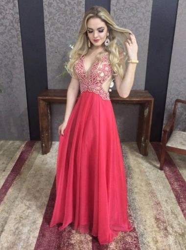 A-Line Deep V-Neck Sleeveless Backless Long Red Prom Dress with Beading