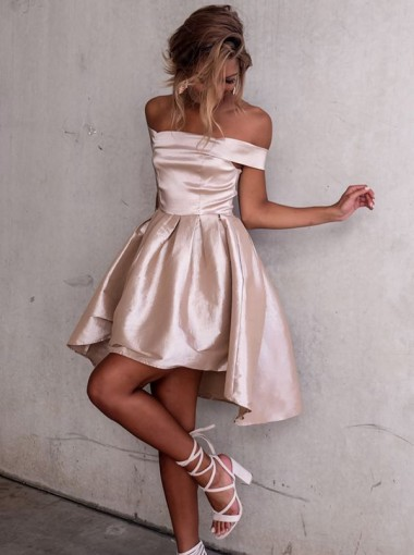 High Low Off-the-Shoulder Pleated Champagne Satin Homecoming Dress