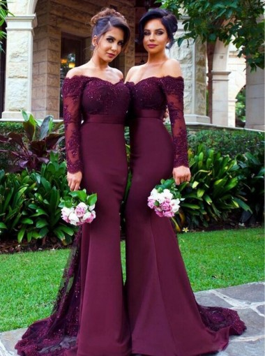 Mermaid Off-the-Shoulder Long Sleeves Sweep Train Wine Red Bridesmaid Dress