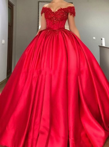 Ball Gown Off-the-Shoulder Red Satin Quinceanera Dress with Sash Appliques