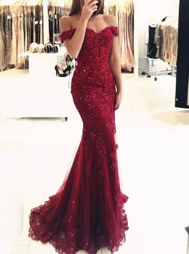 Mermaid Off-the-Shoulder Dark Red Tulle Prom Dress with Appliques Beading