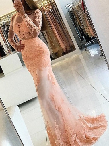 Mermaid Bateau Open Back Pearl Pink Tulle Prom Dress with Appliques Sleeves