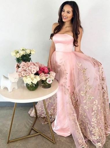 A-Line Strapless Floor-Length Pink Tulle Prom Dress with Appliques