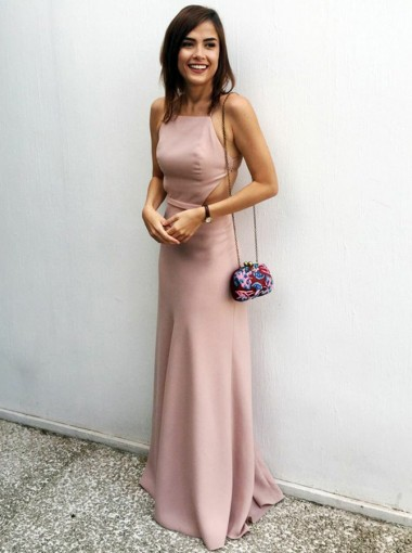 Sheath Spaghetti Straps Backless Blush Prom Dress