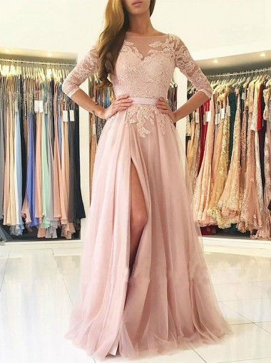 A-Line Bateau 3/4 Sleeves Pearl Pink Tulle Appliques Prom Dress