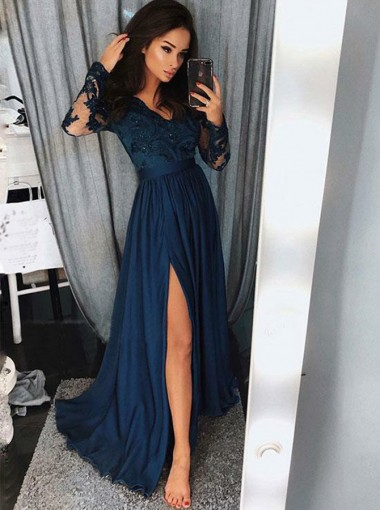 A-Line V-Neck Navy Blue Chiffon Evening Prom Dress with Appliques Beading