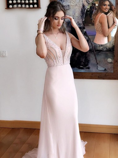 Sheath Deep V-Neck Sweep Train Pearl Pink Chiffon Prom Dress with Beading