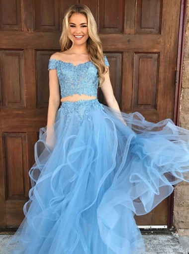 Two Piece Off-the-Shoulder Sky Blue Tulle Prom Dress with Appliques