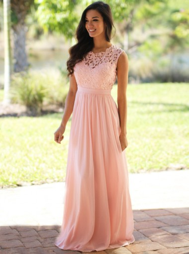 A-Line Round Neck Floor-Length Peal Pink Chiffon Prom Dress with Lace