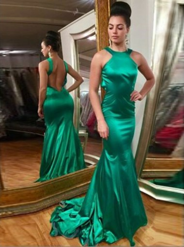 Mermaid Style Jewel Backless Hunter Elastic Satin Prom Dress