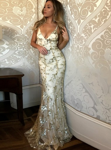 Mermaid Spaghetti Straps Champagne Tulle Prom Dress with Appliques