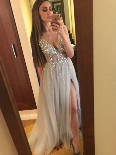 A-Line V-Neck Backless Light Gray Tulle Prom Dress with Beading Split