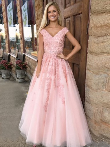 A-Line V-Neck Cap Sleeves Pink Tulle Beaded Appliques Prom Dress