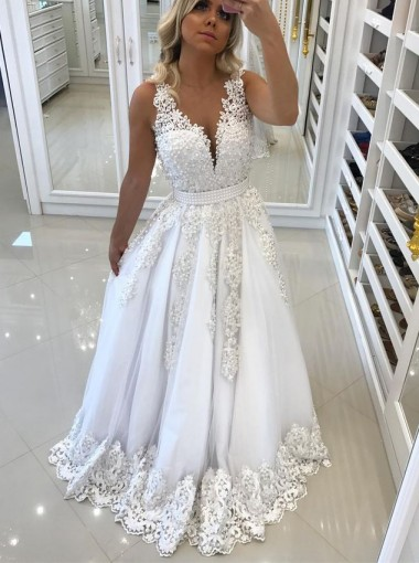 A-Line V-Neck Backless White Tulle Prom Dress with Pearls Appliques
