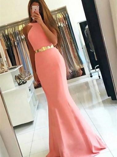 Mermaid Style Jewel Sweep Train Pink Elastic Satin Prom Dress