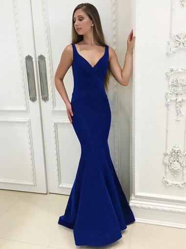 Mermaid Scoop Floor-Length Royal Blue Ruched Velvet Prom Dress
