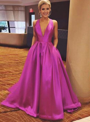 A-Line Deep V-Neck Open Back Fuchsia Satin Prom Dress with Pockets