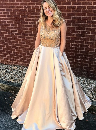 A-Line Scoop Floor-Length Champagne Satin Prom Dress with Beading