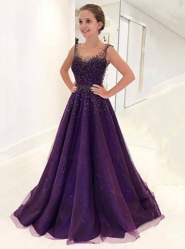 A-Line Scoop Floor-Length Grape Tulle Prom Dress with Beading