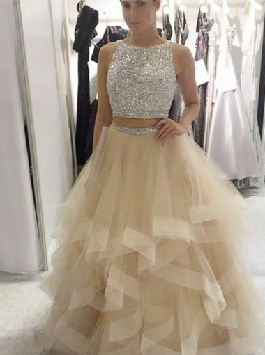 Two Piece Round Neck Open Back Champagne Tulle Prom Dress with Sequins