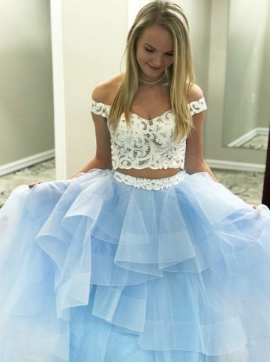 Two Piece Off-the-Shoulder Tiered Blue Tulle Prom Dress with Lace