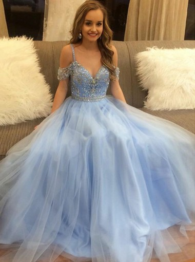A-Line Straps Floor-Length Blue Tulle Prom Dress with Beading