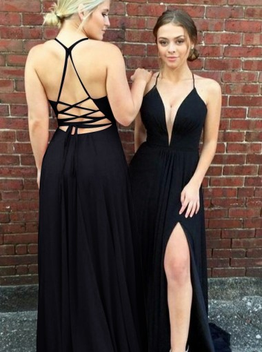 A-Line Spaghetti Straps Sweep Train Black Chiffon Split Prom Dress