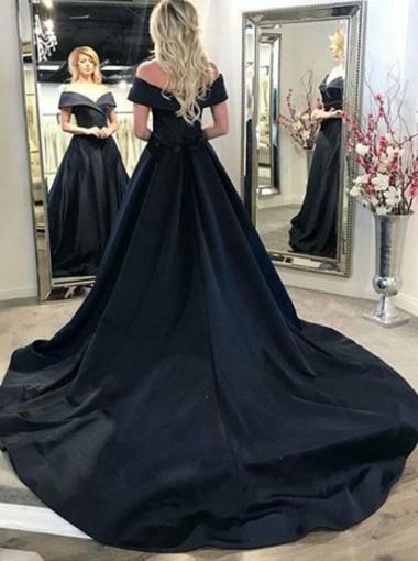 A-Line Off-the-Shoulder Court Train Black Satin Prom Dress