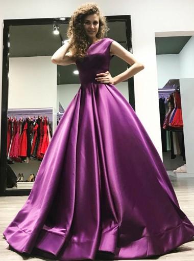 A-Line Bateau Floor-Length Pleated Purple Satin Prom Dress